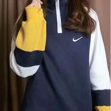 Nike Popular Women Men Leisure Bump Splicing High Collar Semi-Zipper Embroidery Top Sweater I-A-HRWM