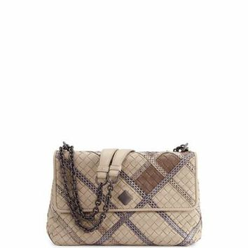 Bottega Veneta Olimpia Intrecciato Snakeskin & Leather Shoulder Bag, Gray