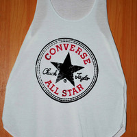 Converse All Star Singlet , White T-Shirt , lady T-Shirt , Women T-Shirt , Crazy T Shirts , Skull Shirts, T shirt Size M