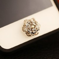 Buttons Sticker - Crystal Lovely Bling Brilliant White Flower Iphone Home Return Keys for Iphone 4s Iphone 5 Ipod Touch Ipad Repair Fix Replace Replacement --1pc -(With Cutely Gift Box)----- Free Shipping From USA--takes 2-6 Working Days with Shelley.kz In