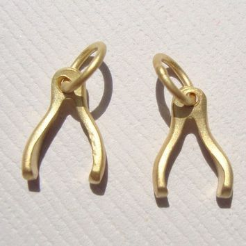Sale, Reduced from 15.20, 4 pcs, 24K gold vermeil over Sterling Silver Tiny Wishbone Good Luck Charm
