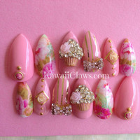 Pink floral & gold cupcake bow 3D False/Fake Full cover Nails