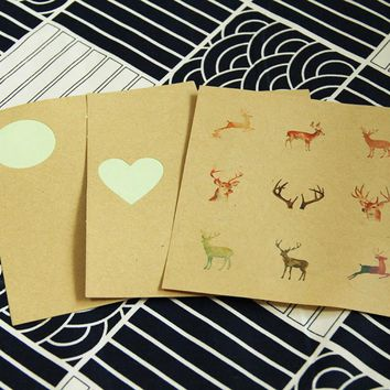 72pcs/lot DIY Scrapbooking Crafts Paper Seal Sticker Cute Deer Sticker Envelope Birthday Party Decoration Sealing Label