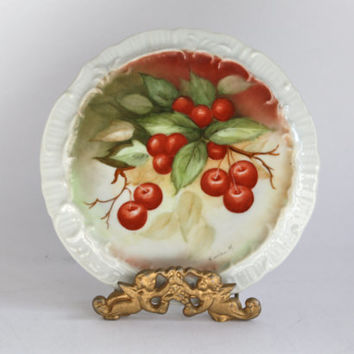 Vintage Tea Trivet, Hand Painted Cherries / Artist Signed
