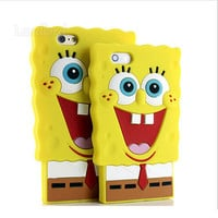 New style Cute Cartoon 3D SpongeBob SquarePants design skin Soft Silicone phone Case back Cover for iphone 5 5S 6 6 plus PT2088