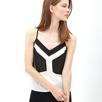 Color Block V-Neck Halter Racer Back Chiffon Top