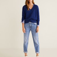 Embroidered cotton sweater - Women | MANGO United Kingdom