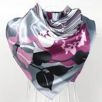 2017 Elegent Women Large Square Silk Scarf Printed,90*90cm Fashion Spring And Autumn Grey And Purple Polyester Silk Scarf Shawl