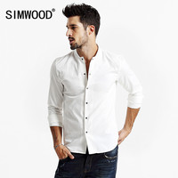 SIMWOOD Autumn New Item Simplicity Single-breasted Square Collar Solid Color Full Sleeve Slim Men Shirt
