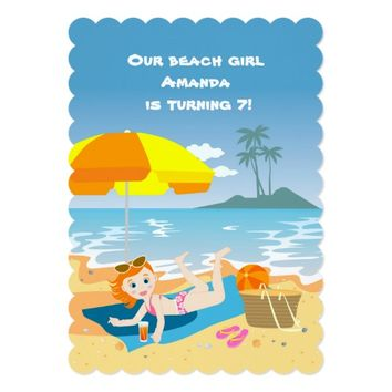 Beach girl summer birthday party invitation