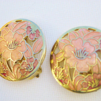 Vintage Hibiscus Flower Cloisonne Clip Earrings Vintage 80s Jewelry Feminine Pink & Metallic Gold Earrings