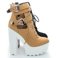 Pacifica07 By Wild Diva, Round Toe Lace up Strappy Ankle Chunky Lug Sole High Heel Bootie
