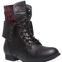 Plaid Foldover Combat Boots | Wet Seal