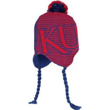 Kansas Jayhawks knit tassel winter hat Adidas NWT NCAA KU Rock Chalk Big 12