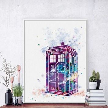 Original Watercolor Doctor Who A4 Poster Print London Telephone Booth Picture Canvas Painting No Framed Gift Home Decor Wall Art