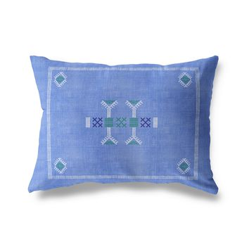 MORROCCAN KILIM BLUE Indoor|Outdoor Lumbar Pillow By Becky Bailey