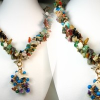 Chunky Mixed Gemstone Mulit Color Chip Nugget Necklace