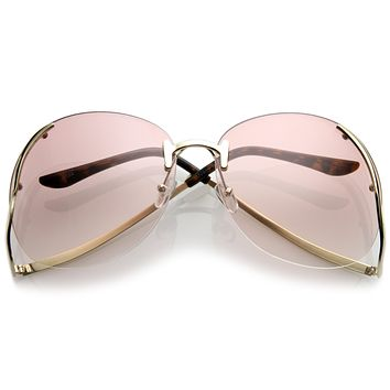 Oversize Women's Rimless Low Temple Gradient Lens Sunglasses C259