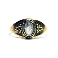 B.C Rae Brass Ring - Moonstone