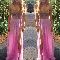 Prom  Dresses Sparky Beaded Long Chiffon Sweetheart Sexy Pink Gowns with Slit 2017 Formal Graduation Party  Dress