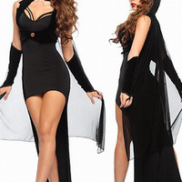 Black Countess Long Back with Cape Bodycon Mini Dress Costume
