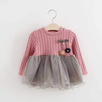 Baby Girl Dress 2017 New Casual Autumn Baby Clothes Long Sleeve Sweater Two Piece Dress Princess dress baby girl clothes