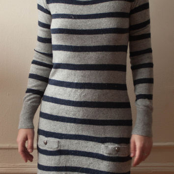 Anthropologie Kaisley Boatneck Knit Grey And Navy Striped Sweater Dress With Pockets And Anchor Buttons (Kaisely)