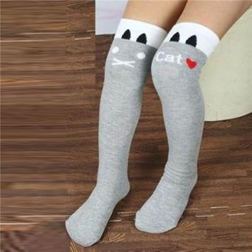 Toddlers Kids Girls Knee High Socks School Cotton Tights Striped Stockings for Girls 1-8Years