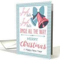 Red Blue Jingle Bells Typography Christmas card