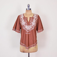 Mexican Shirt Mexican Top Mexican Blouse Mexican Tunic Mexican Embroider Shirt Embroider Top Embroider Blouse 70s Hippie Top 70s Boho Top M