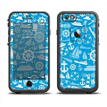 The Blue Nautical Collage Apple iPhone 6 LifeProof Fre Case Skin Set