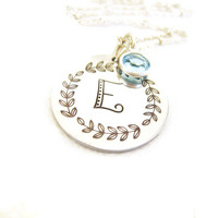 Hand Stamped Initial Pendant Aluminum Personalized Jewelry Sterling Silver Mommy Jewelry Gift Spring Mothers Day