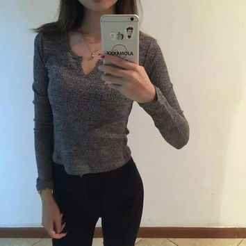 AA Long Sleeve Knit V-neck Tops [9695400399]