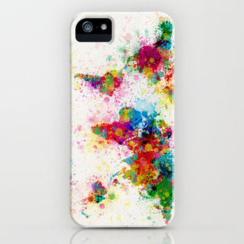 Map of the World Map Paint Splashes iPhone Case by ArtPause