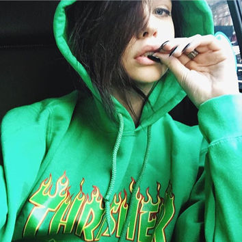 Thrasher Flame sweater thick sets hooded long-sleeved loose couple coat Green