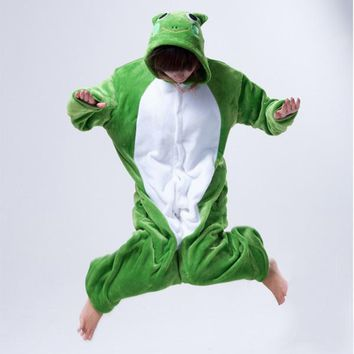 Free Shipping New Arrival Animal Green Frog Cute Adult Onesuit One Piece Women Men Cos Pajamas Cosplay Party Pyjamas Winter