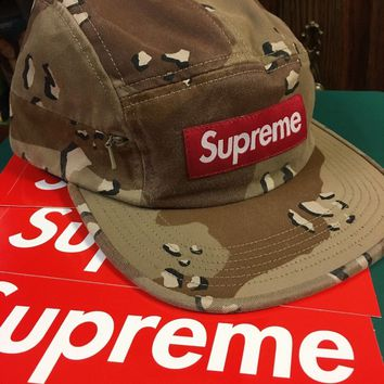 Supreme New York Side Zip Camp Cap. Desert Camo 100% Authentic.