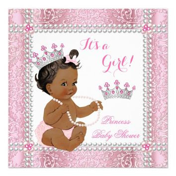 Ethnic Princess Baby Shower Girl Pink Pearl Lace Invitation