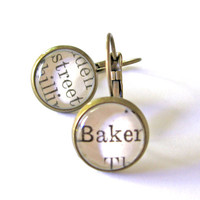 Baker Street Sherlock Recycled Library Card Word Earrings Patina Brass by The Written Nerd