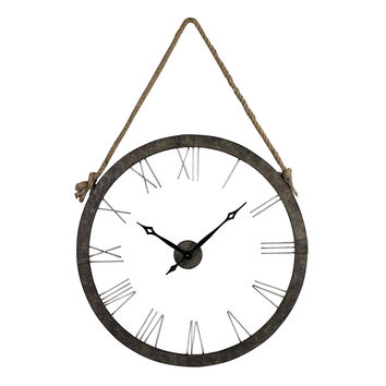 Metal Wall Clock Hung On Rope Rustic Iron,Silver