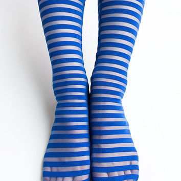 Women New Hezwagarcia See Through Mega Sheer Royal Blue Striped Polyester Spandex Socks Stocking for Summer