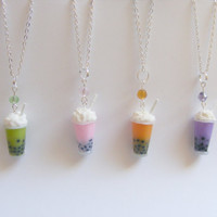Boba Bubble Tea Miniature Food Necklace Pendant - Miniature Food Jewelry