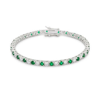 Emerald Sugar - Emerald And Clear CZ Rhodium Plated Brass Tennis Bracelet