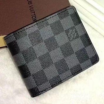 LV Louis Vuitton Trending Women Men Leather Print Handbag Purse Wallet Tartan Black I