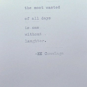 Framed EE Cummings quote, handtyped on typewriter, vintage card