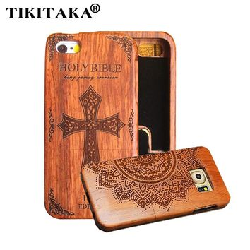 Retro Wood Embossed Case For iPhone 5 5s SE 6 6s Plus Funda Carving Nature Wooden Phone Cases Hard relief rilievo Cover Shell