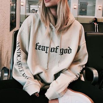 Winter brand new wave of sand color lovers paragraph paragraph loosening thicker hooded sweater hooded men and women tide