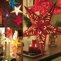 Diameter 30cm Three-dimensional Laser Pentacle Star Lampshade Bar Ceiling Decoration Ornaments Christmas Decoration Gift - Color Random = 1946731844