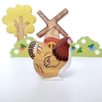 Wooden Hen toy Miniature animal figurines Barnyard Animals Educational toy Learning toy Waldorf nature table Handmade Toy for toddlers
