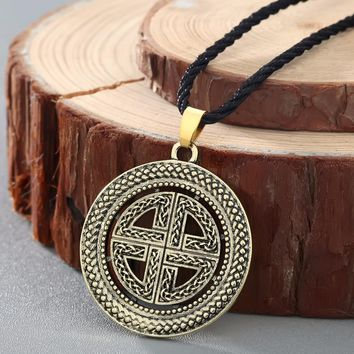 Sheild knot Asatru Celtic Pendant Charm Necklace Knot Pendants Celtic Jewelry Celtic Shield  Cross Necklace Collier